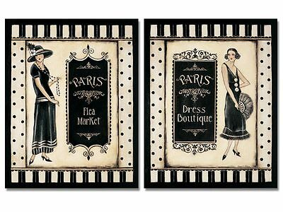 2 Women's Shopping Paris Fashion Art Prints Vintage Decor 11 x 14 on Rummage