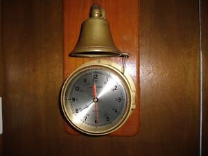 VINTAGE NAUTICAL WALL CLOCK & SHIPS BELL STRIKER OAK SOLID BRASS
