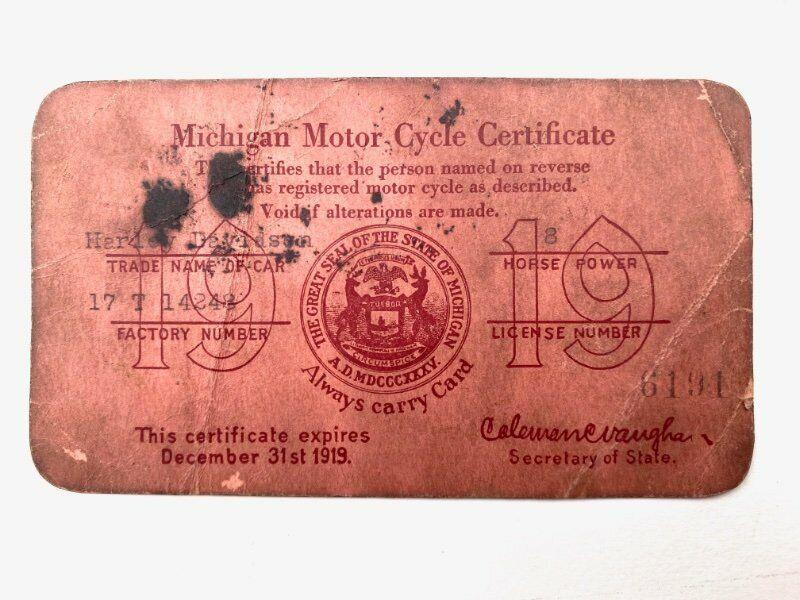 Harley Davidson 1919 Michigan Motorcycle Registration Certificate
