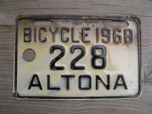 Vintage ALTONA Bicycle License Plates