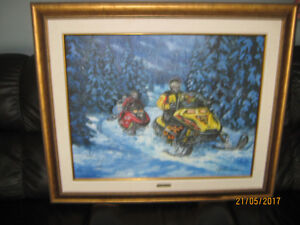 SKIDOO ORIGINAL PAINTING BY ANDREE MARCOUX