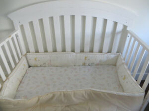 Solid wood 3 in 1 Crib Set, bedding, Mattress and Changing Table
