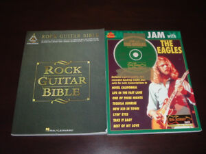 Rock guitar bible and Jam with the eagles books