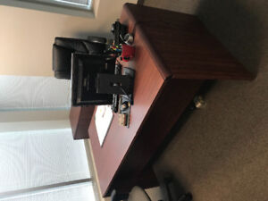 Office desk, credenza and cabinet