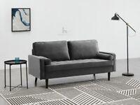 New Flat Pack 3 Seater Upholstered Sofa Grey Velvet Fabric With 2 Bolster Pillow (R210- 60201)