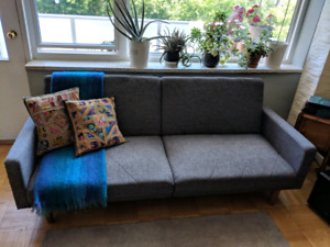 Grey, contemporary modern couch (foldable)
