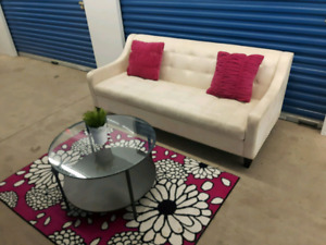 Creamy modern suede sofa/delivery available