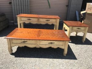 Coordinating 3 Pc 2 Tone Wood Table Set Sofa, End Coffee Table