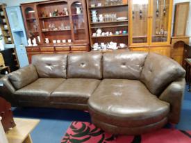 Brown leather corner sofa tclri 47118