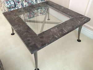 Granite Top Coffee Table and Two Side Tables (NO DELIVERY)