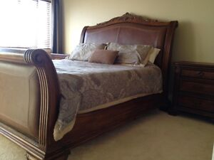 Solid Wood and Leather Sleigh Bed - King Size w/2 night stands
