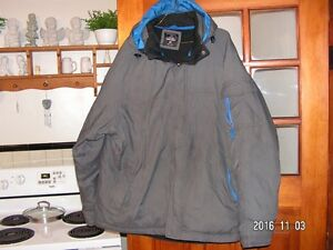blue and grey  down filled parka