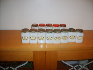 #15- milk glass spice containers