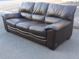 Brown Leather 3 Seater Sofa 👍very good condition