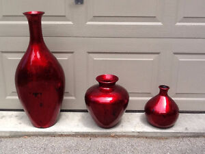 3 Large Red Decorative Vases
