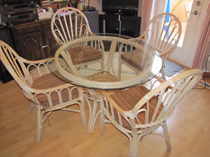 Bamboo Dining Set with a glass top