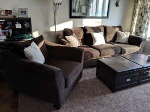 Chocolate Brown Couch Chair and Ottoman
