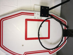 "36"" basketball backboard with rim and wall mount."