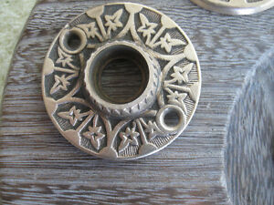 OLD ANTIQUE MATCHING SOLID BRASS DOOR-KNOB PATTERNED COLLARS