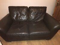 Natuzzi 2 seater brown leather sofa