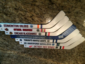 Seven NHL team mini sticks