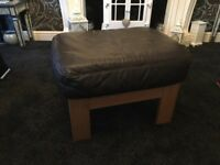 Foot stool oak frame brown leather top good con £20 b on Avon