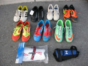 youth soccer uniforms, cleats, indoor soccer shoes, shin pad etc