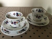 Pair of 'Sydney' china tea cups, saucers & side plates Vintage JR N3