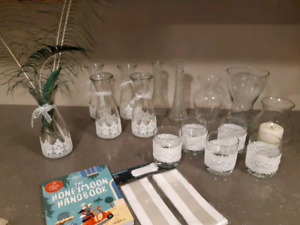 Wedding decorations - candles and vases