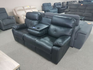 Black Reclining Sofa with fold away cup holders
