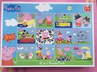 Box of 12 peppa pig jigsaw puzzles