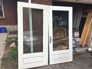 Double solid wood exterior doors