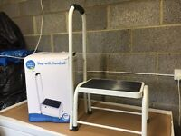 Step with handrail, for multipurpose including for the use of elderly or disability aid.