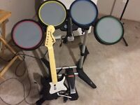 Xbox 360 Rock Band drums, mic and guitar