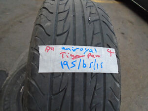 FOUR USED ALL SEASON TIRES 195-65-15 { UNIROYAL} R.H AUTO