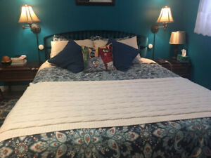 Queen storage bed with backboard and mattress