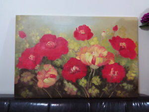 Red and yellow poppy flowers original oil painting
