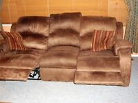 2 years old mico suede reclining sofa and love seat