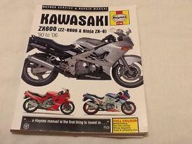 Haynes workshop manual used once Kawasaki ZZR 600