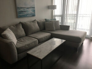 Grey sectional couch - 1 year old