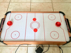 Small Electric Air Hockey Game 27x14in Tabletop Toy with 2 Pucks