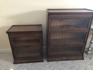 ANTIQUE LEADED GLASS BARRISTERS BOOK CASES