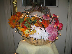 MASSIVE WOVEN WICKER BASKET with LIGHTED ARTIFICIAL FLORAL ARRA