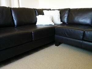 Gorgeous Dark Chocolate Leather Sectional