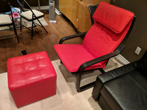 Red arm chair with red leather ottoman