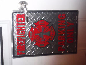 Fire Fighter Parking Only diamond plated sign
