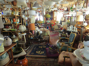 PAST and PRESENT ANTIQUES with MID CENTURY - TEAK - LAMPS