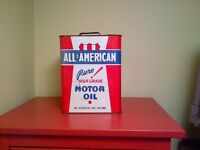 Vintage Oil Tins- All American Motor Oil, Gulf and Mystery Oil