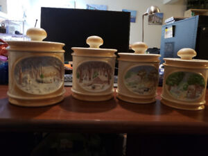 Antique ceramic canister cans