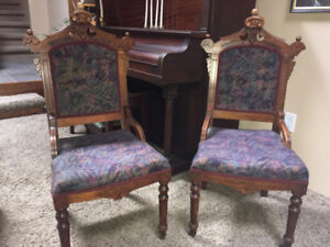 Antique East Lake Side Chairs, matching pair